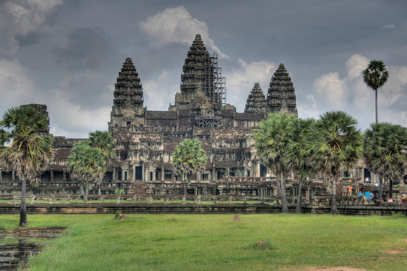 Angkor Wat Towers and dark sky at Siem Reap, Cambodia