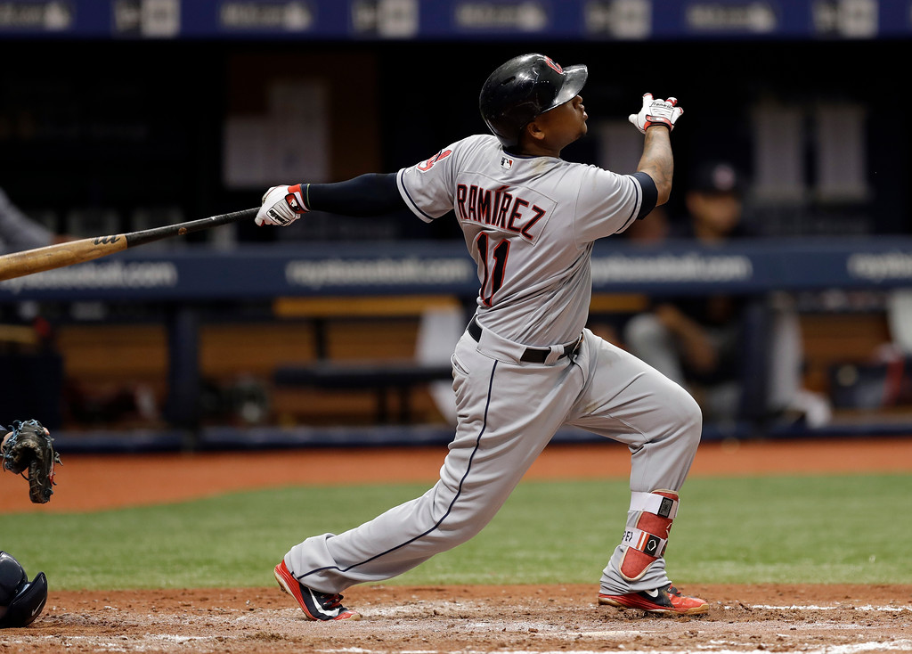 . Cleveland Indians\' Jose Ramirez watches his home run off Tampa Bay Rays starting pitcher Blake Snell during the seventh inning of a baseball game Wednesday, Sept. 12, 2018, in St. Petersburg, Fla. (AP Photo/Chris O\'Meara)