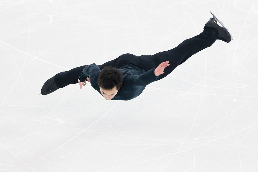 . Figure skater Jeremy Abbott of the United States practices ahead of the Sochi 2014 Winter Olympics at the Iceberg Skating Palace on February 5, 2014 in Sochi, Russia.  (Photo by Matthew Stockman/Getty Images)