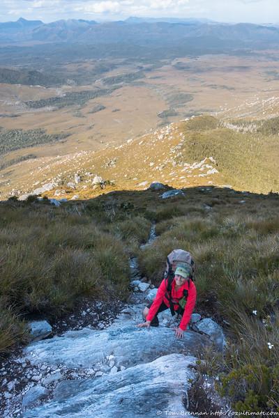 Rachel climbing Moraine A