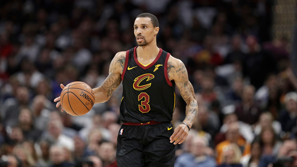. Cleveland Cavaliers\' George Hill drives against Milwaukee Bucks in the first half of an NBA basketball game, Monday, March 19, 2018, in Cleveland. (AP Photo/Tony Dejak)