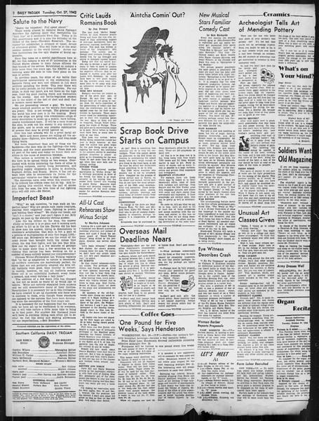 Daily Trojan, Vol. 34, No. 28, October 27, 1942