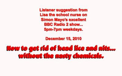 Radio 2 Simon Mayo How to get rid of nits