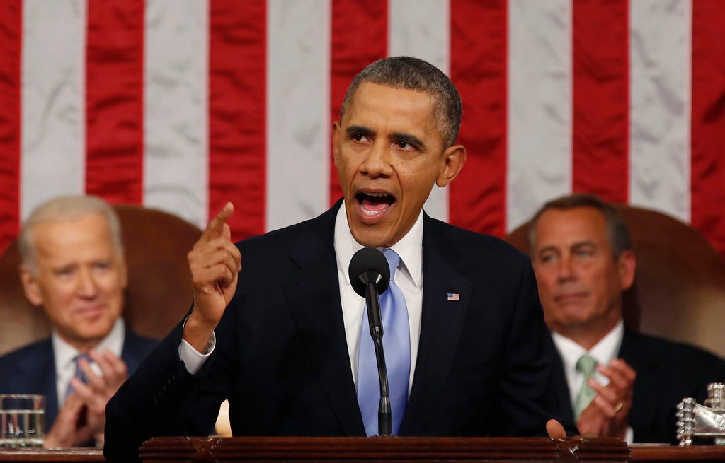 . US President Barack Obama delivers his State of the Union address on Capitol Hill in Washington, January 28, 2014.  LARRY DOWNING/AFP/Getty Images