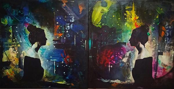 """twıns"" (acrylic on canvas) by Okan Boydas"