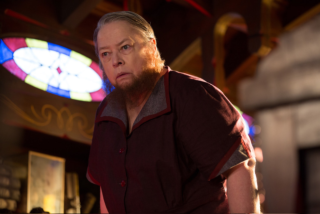 """. In this image released by FX, Kathy Bates appears in a scene from \""""American Horror Story: Freak Show.\"""" Bates was nominated for a Golden Globe for best supporting actress in a TV movie or mini-series for her role on Thursday, Dec. 11, 2014. The 72nd annual Golden Globe awards will air on NBC on Sunday, Jan. 11. (AP Photo/FX, Michele K. Short)"""
