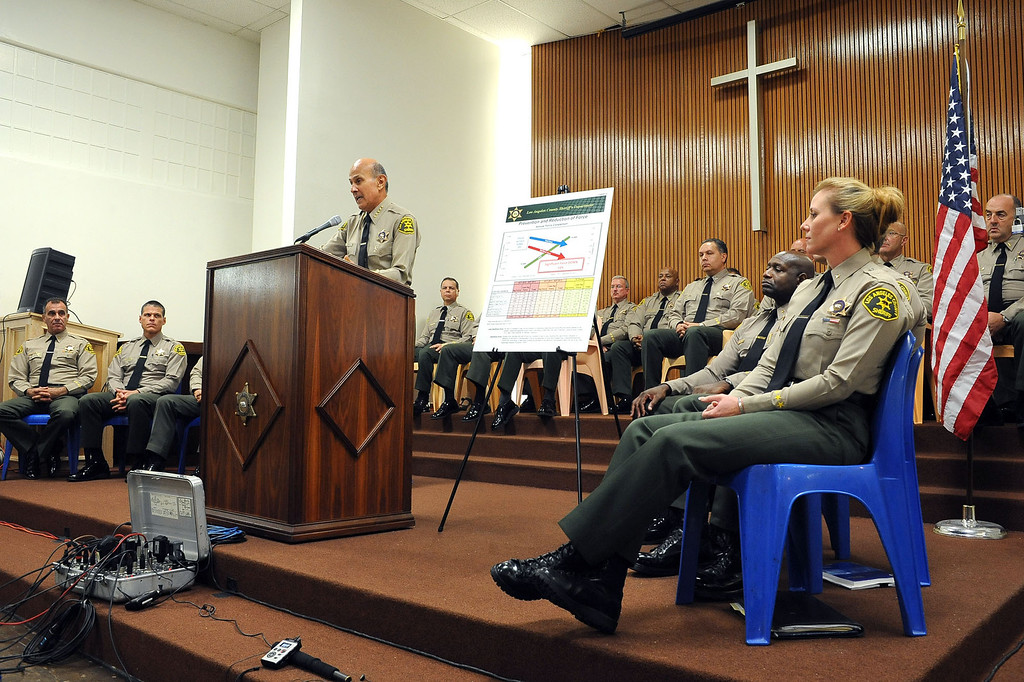 . Sheriff Lee Baca holds a press conference at Men\'s Central Jail to respond to the findings and recommendations of the Citizens\' Comission on Jail Violence Wednesday, October 3, 2012 in Los Angeles, CA.(Andy Holzman/L.A. Daily News)