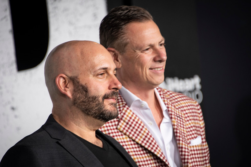 "HOLLYWOOD, CALIFORNIA - SEPTEMBER 28: Aaron L. Gilbert and Jason Cloth attend the premiere of Warner Bros Pictures ""Joker"" on Saturday, September 28, 2019 in Hollywood, California. (Photo by Tom Sorensen/Moovieboy Pictures)"