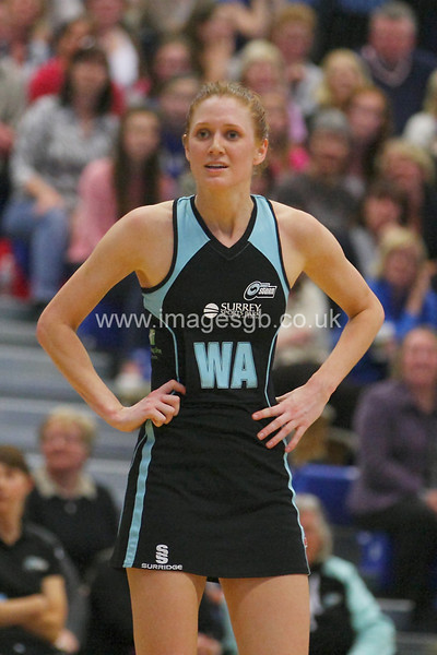 Jo Davidson during Surrey Storms 63 v 42 win against Hertfordshire Mavericks at Surrey Sports Park on the 29 April 2013 (ImagesGB)