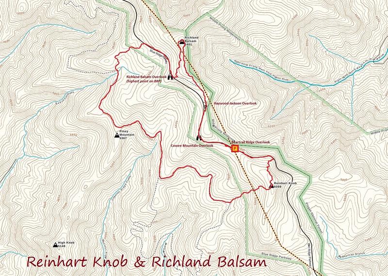 Reinhart Knob & Richland Balsam Hike Route Map