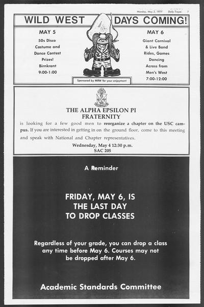 Daily Trojan, Vol. 71, No. 50, May 02, 1977