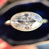 1.17ct Antique Moval Cut Diamond Bezel Ring, GIA E SI1 12