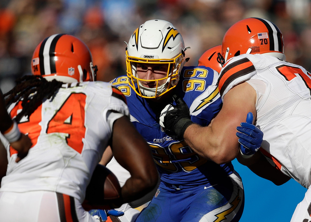 . Los Angeles Chargers defensive end Joey Bosa lines up against the Cleveland Browns during the first half of an NFL football game Sunday, Dec. 3, 2017, in Carson, Calif. (AP Photo/Jae C. Hong)