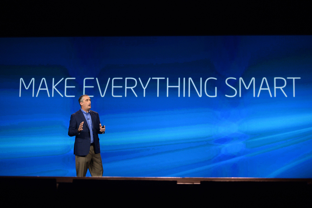 Description of . Intel Corp. CEO Brian Krzanich give a keynote address at the 2014 International CES at The Venetian hotel, January 6, 2014 in Las Vegas, Nevada.   ROBYN BECK/AFP/Getty Images