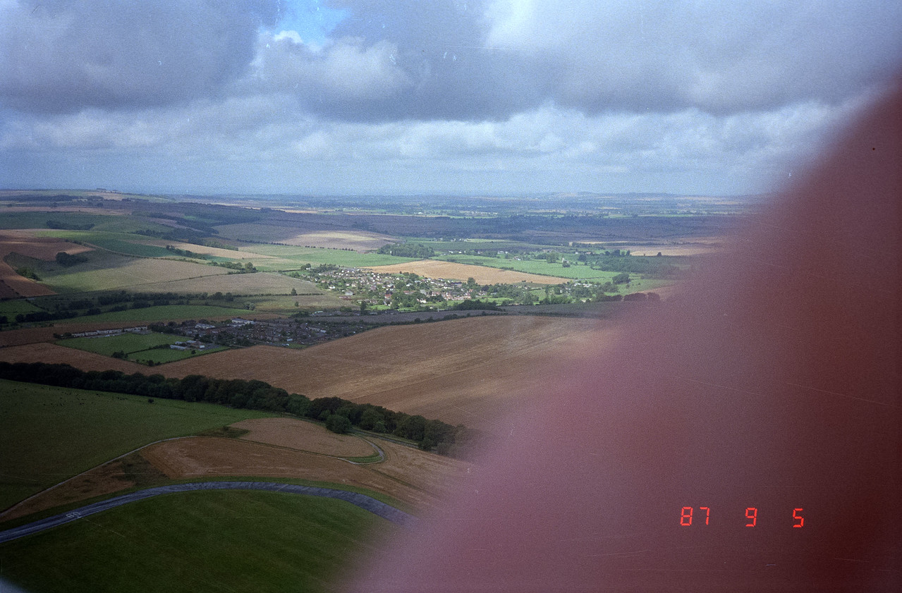 Gliding over Salisbury countryside of England in a Swiss glider!