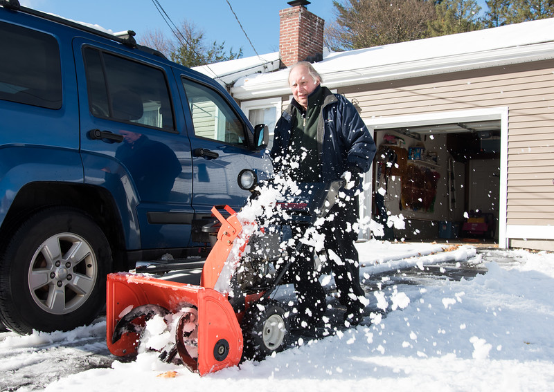 11/16/18  Wesley Bunnell | Staff  Bob Bryant uses a snow thrower to clean up his daughters driveway on Rhodes St in New Britain on Friday afternoon following the first winter storm of the season which lasted from last Thursday until Friday morning.