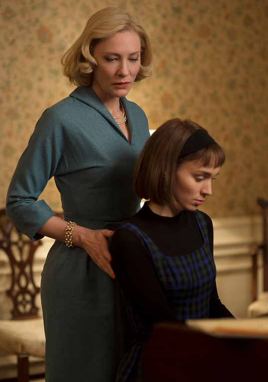 """. This photo provided by The Weinstein Company shows Cate Blanchett, left, and Rooney Mara in a scene from the film, \""""Carol.\"""" Mara was nominated for an Oscar for best supporting actress on Thursday, Jan. 14, 2016, for her role in the film. The 88th annual Academy Awards will take place on Sunday, Feb. 28, at the Dolby Theatre in Los Angeles. (Wilson Webb/The Weinstein Company via AP)"""