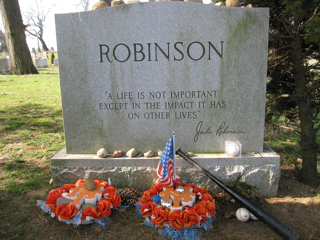 . This April 9, 2013 photo shows Jackie Robinson�s gravesite, where fans still leave tributes to the man who integrated Major League Baseball when he joined the Brooklyn Dodgers in 1947. (AP Photo/Beth J. Harpaz)