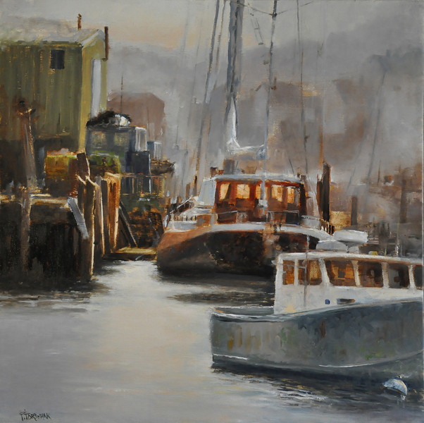 SOLD; Sun Shining Through November Fog, Gloucester Harbor (Gloucester, MA) Oil on Belgian Linen 20X20  Awards: Recognition, Beaux-Arts RE'ALISTE, Canada  SOLD   November Soft light glows in the north shore fog And, touches the loneliness of the abandoned boats