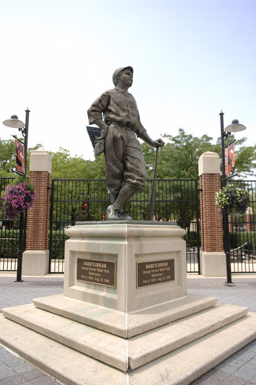 . A statute of Babe Ruth outside Oriole Park at Camden Yards as the Baltimore Orioles play the Chicago White Sox on July 29, 2006 in Baltimore. (Photo by A. Messerschmidt/WireImage)