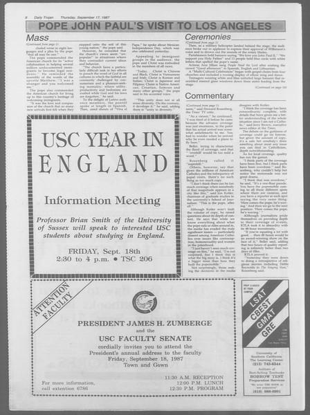 Daily Trojan, Vol. 105, No. 11, September 17, 1987