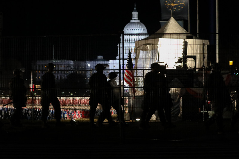 National Guard troops with riot shields on National Mall