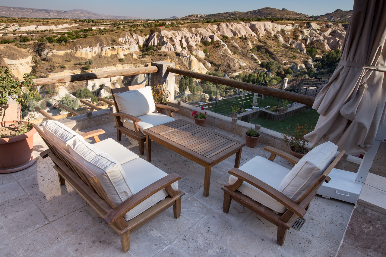Private Balcony Overlooking Pigeon Valley in Cappadocia Taskonaklar Cave Hotel