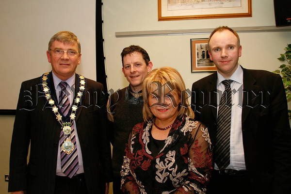 Francis Mc Mahon (branch manager newry & district alzheimers society) with l-r Michael Carr (mayor), Brian O'Hagan (chair person) and Dr Mark Mc Cauley (guest speaker at the society agm),07W13N54