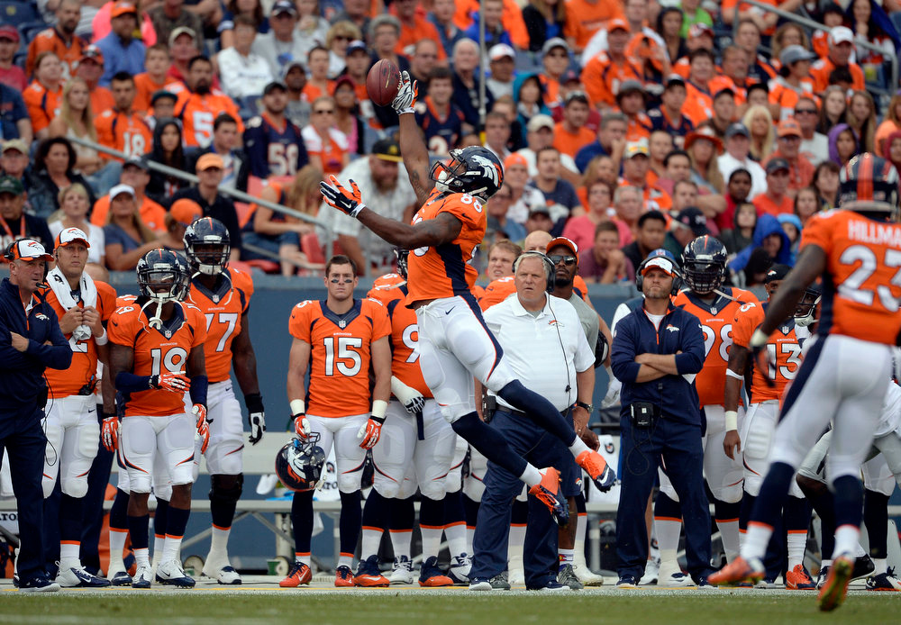 . Wide receiver Demaryius Thomas (88) of the Denver Broncos goes up for a catch during the first quarter.  The Denver Broncos vs the Seattle Seahawks At Sports Authority Field at Mile High. (Photo by AAron Ontiveroz/The Denver Post)
