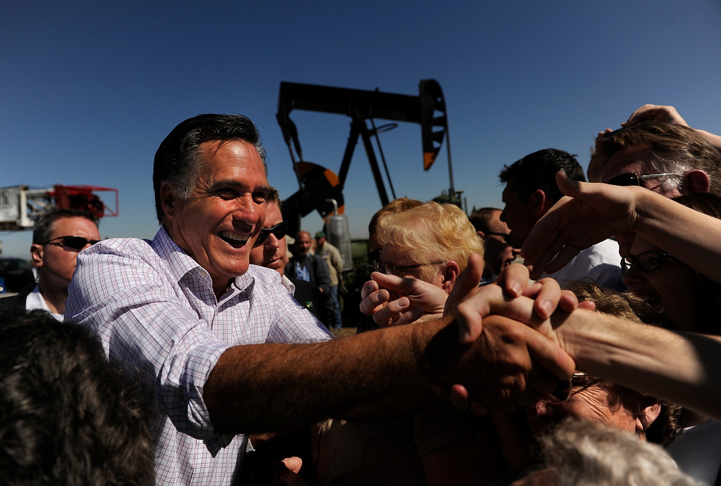 . Governor Mitt Romney meets with supporters after talking about energy, Wednesday, May 09, 2012, during an event at K.P. Kauffman Company in Fort Lupton. RJ Sangosti, The Denver Post