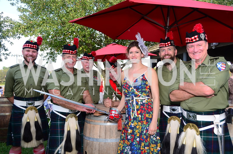 St. Andrew's Society Color Guard and Dr. Lauren Mckelroy,  NVTRP Ride to Thrive Polo Classic, Great Meadow, Sep 28, 2019, photo by Nancy Milburn Kleck
