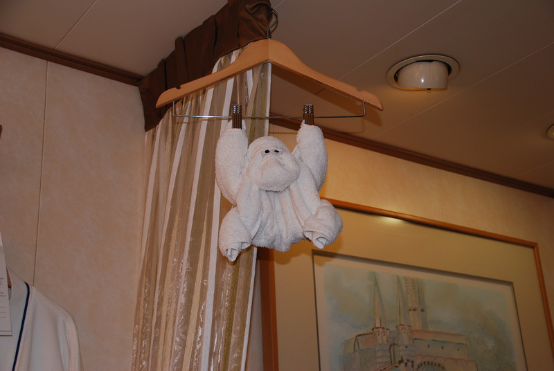 One of the daily towel animals, the hanging monkey.