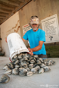 June 14, 2018, Clamming with Legend Jim Lyons, Clams, Hatteras Inlet, Hatteras, North Carolina, Outer Banks Documentary Photographers, Epic Shutter Photography, Hatteras Island Documentary Photographer