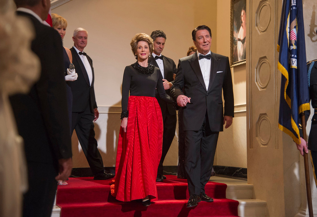". Jane Fonda as Nancy Reagan, center left, and Alan Rickman as Ronald Reagan in a scene from ""Lee Daniels\' The Butler.\"" (AP Photo/The Weinstein Company, Anne Marie Fox)"