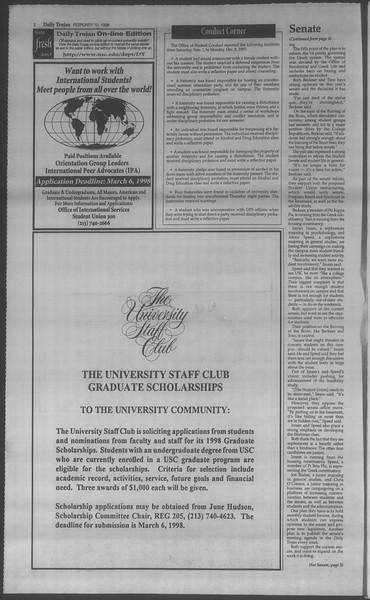 Daily Trojan, Vol. 133, No. 22, February 10, 1998