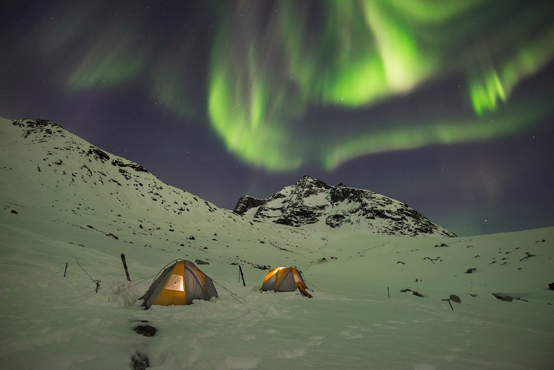Aurora Borealis whilst camping near Tasiilap, East Greenland
