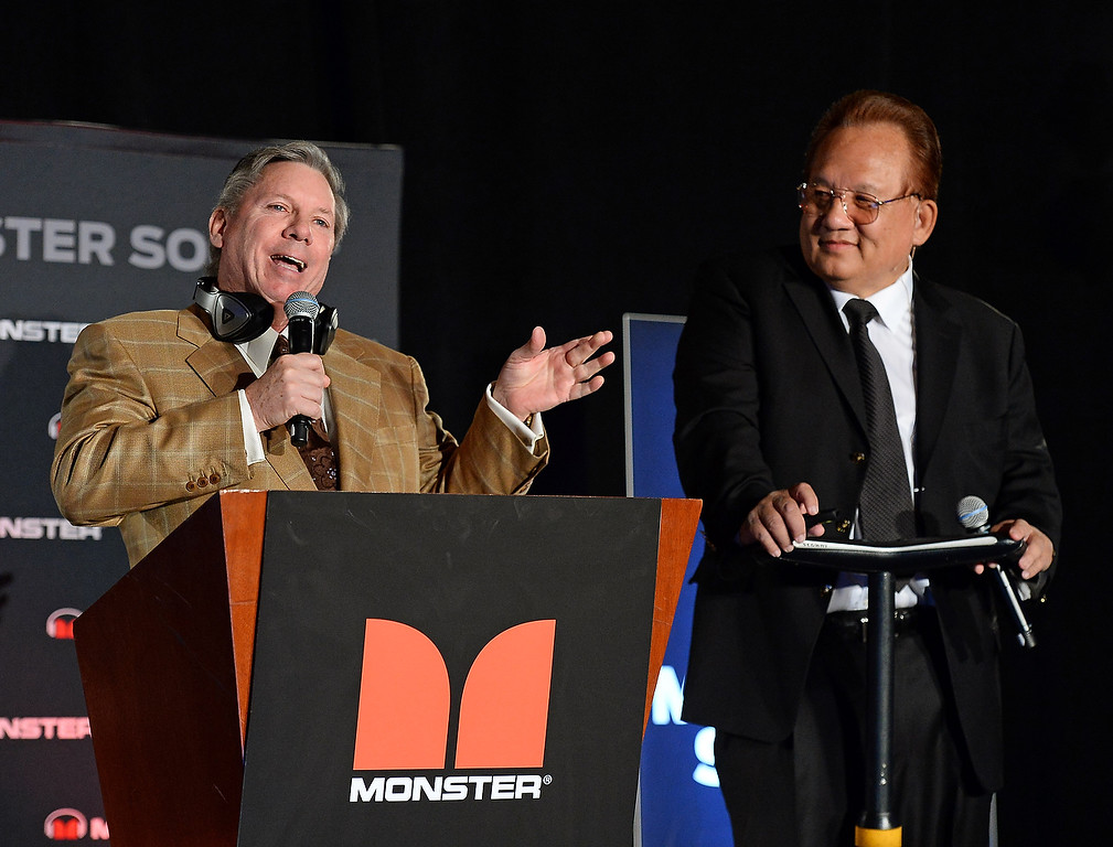 . World Poker Tour commentator Mike Sexton (L) and Monster Inc. Founder and CEO Noel Lee speak during a press event at the Mandalay Bay Convention Center for the 2014 International CES on January 6, 2014 in Las Vegas, Nevada. (Ethan Miller/Getty Images)