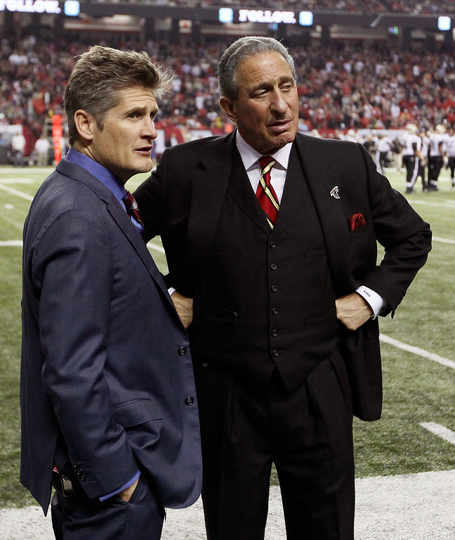 . ATLANTA, GA - NOVEMBER 29:  Owner and CEO Arthur Blank and General Manager Thomas Dimitrof wait for an official review in the final minutes of the game between the Atlanta Falcons and the New Orleans Saints at Georgia Dome on November 29, 2012 in Atlanta, Georgia.  (Photo by Kevin C. Cox/Getty Images)