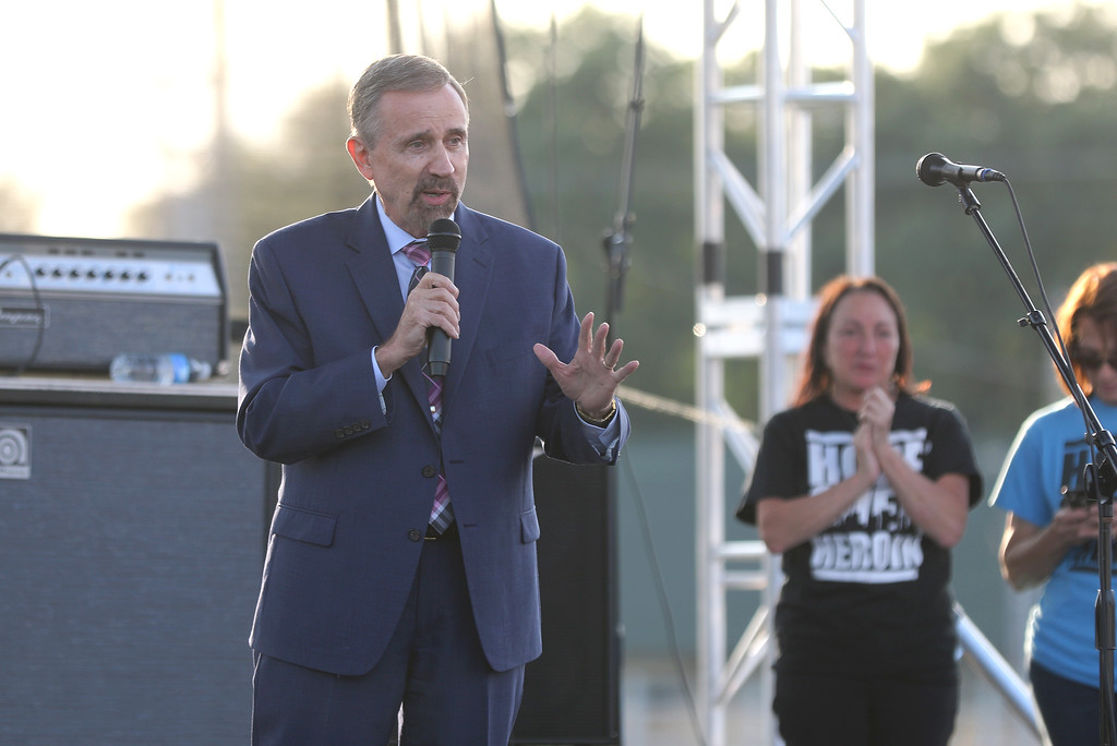 . Jonathan Tressler - The News-Herald. State Rep. Ron Young, R-Leroy Township, speaks to the crowd gathered Aug. 25 at the Lkae Conuty Fairgrounds during the opening of the two-day Hope Over Heroin Lake Conuty event.