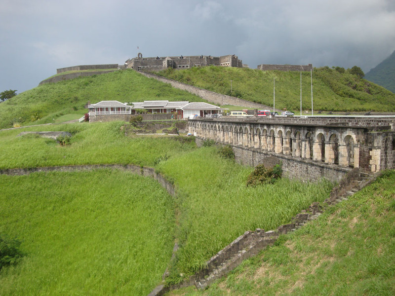 In medieval times, the Caribbean islands were hotly fought over by the French and British, among others. A series of ruined stone forts dots the coast, and the waters are filled with wrecks. This is the biggest fort on St Kitts, Brimstone Hill. The arches to the right are the officers quarters - they had amazing sea views.