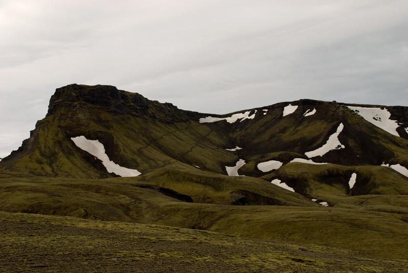 Horft til baka á leiðina upp á Moransheiði, Heiðarhornið vinstra megin. Kl. 6.24