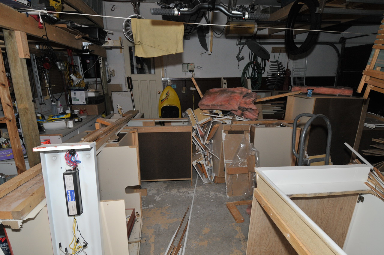 The garage, where a lot of bits landed.