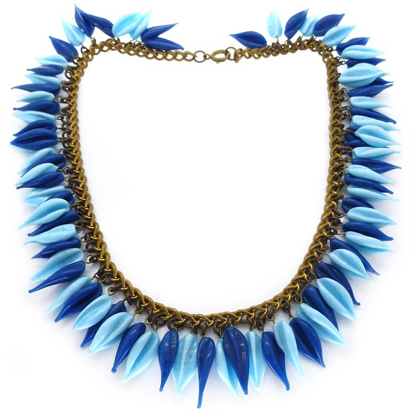 VINTAGE MID-CENTURY FRENCH BLUE BLOWN BLUE GLASS BEAD CHAIN NECKLACE