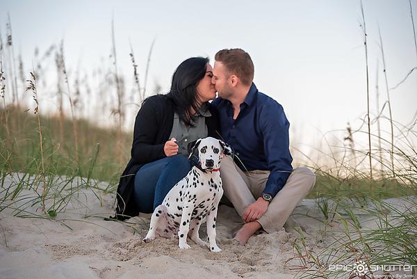 Alyssa and Eric, Cape Hatteras  Surprise Proposal/Engagement Portraits, Dalmatian Puppy