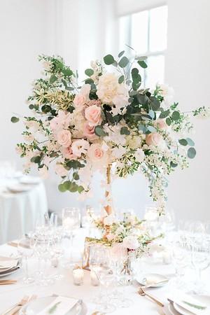 28230 Chandelier with flower arrangement
