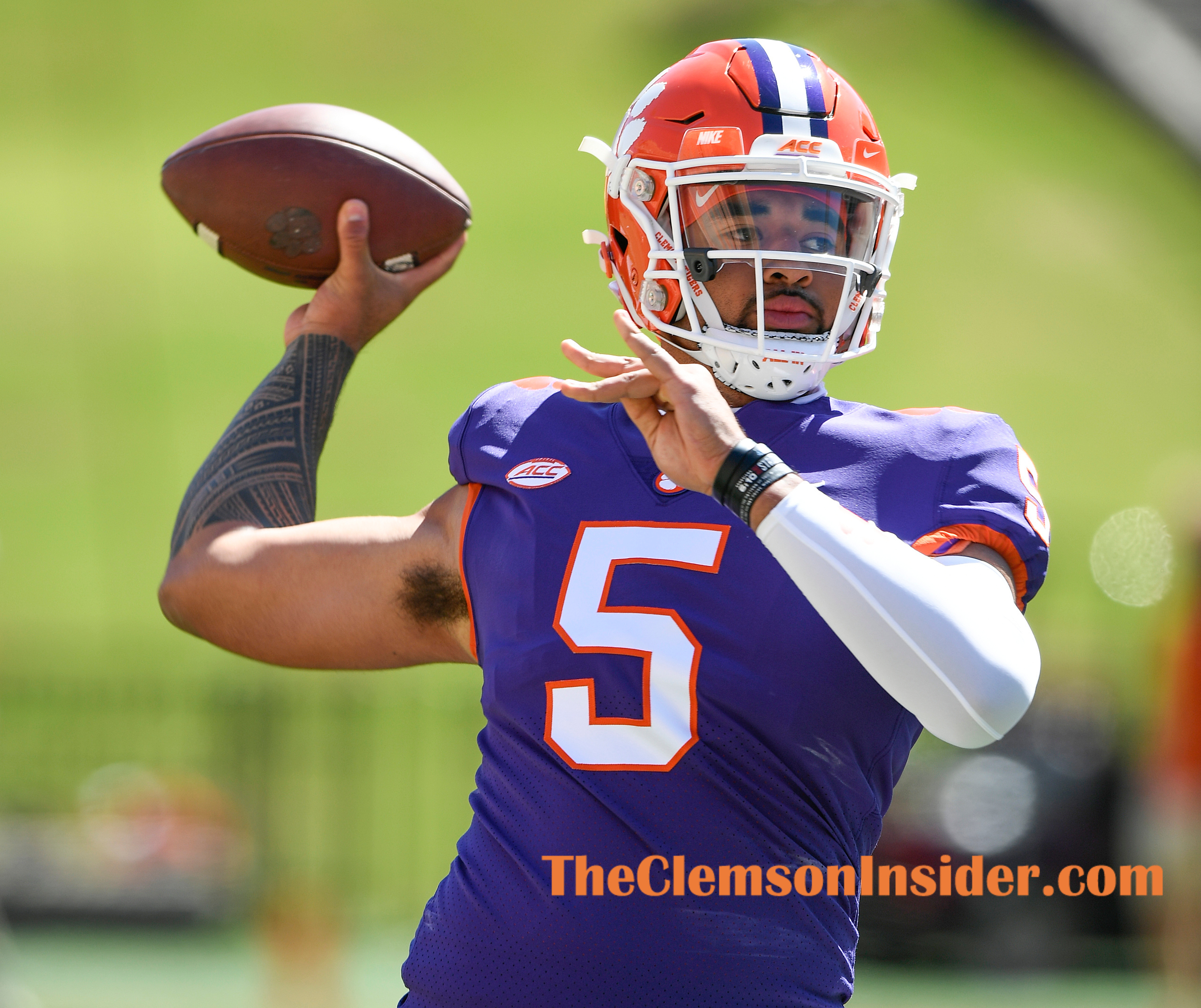 quarterback D.J. Uiagalelei (5) during pregame of the Orange and White spring game Saturday, April 3, 2021 at Clemson's Memorial Stadium. Bart Boatwright/The Clemson Insider
