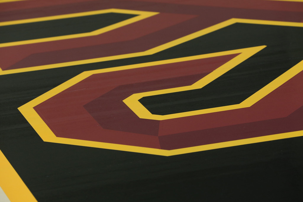 . The baselines, painted in black, display the new aggressive �Cleveland Cavaliers� font in wine and gold with sharp edges that are inspired by the sword. (Courtesy Cleveland Cavaliers)