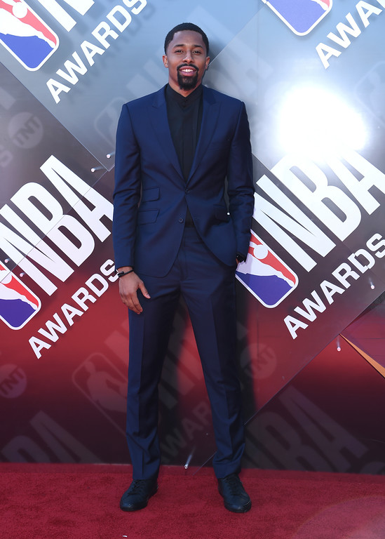 . NBA player Spencer Dinwiddie, of the Brooklyn Nets, arrives at the NBA Awards on Monday, June 25, 2018, at the Barker Hangar in Santa Monica, Calif. (Photo by Richard Shotwell/Invision/AP)