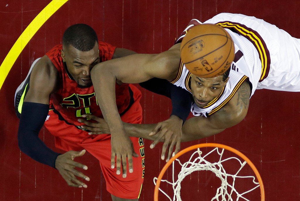 . Cleveland Cavaliers\' Tristan Thompson battles Atlanta Hawks\' Paul Millsap for a rebound in the first half in Game 1 of the second round of the NBA playoffs on May 2 in Cleveland. Thompson led the Cavs in rebounds with 14, in the team\'s 104-93 victory. Cleveland leads the series, 1-0. (AP Photo/Tony Dejak)