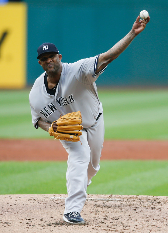 . New York Yankees starting pitcher CC Sabathia delivers against the Cleveland Indians during the first inning of a baseball game, Saturday, July 14, 2018, in Cleveland. (AP Photo/Ron Schwane)